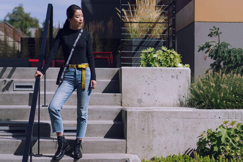 MM LaFleur Brodie black knit top