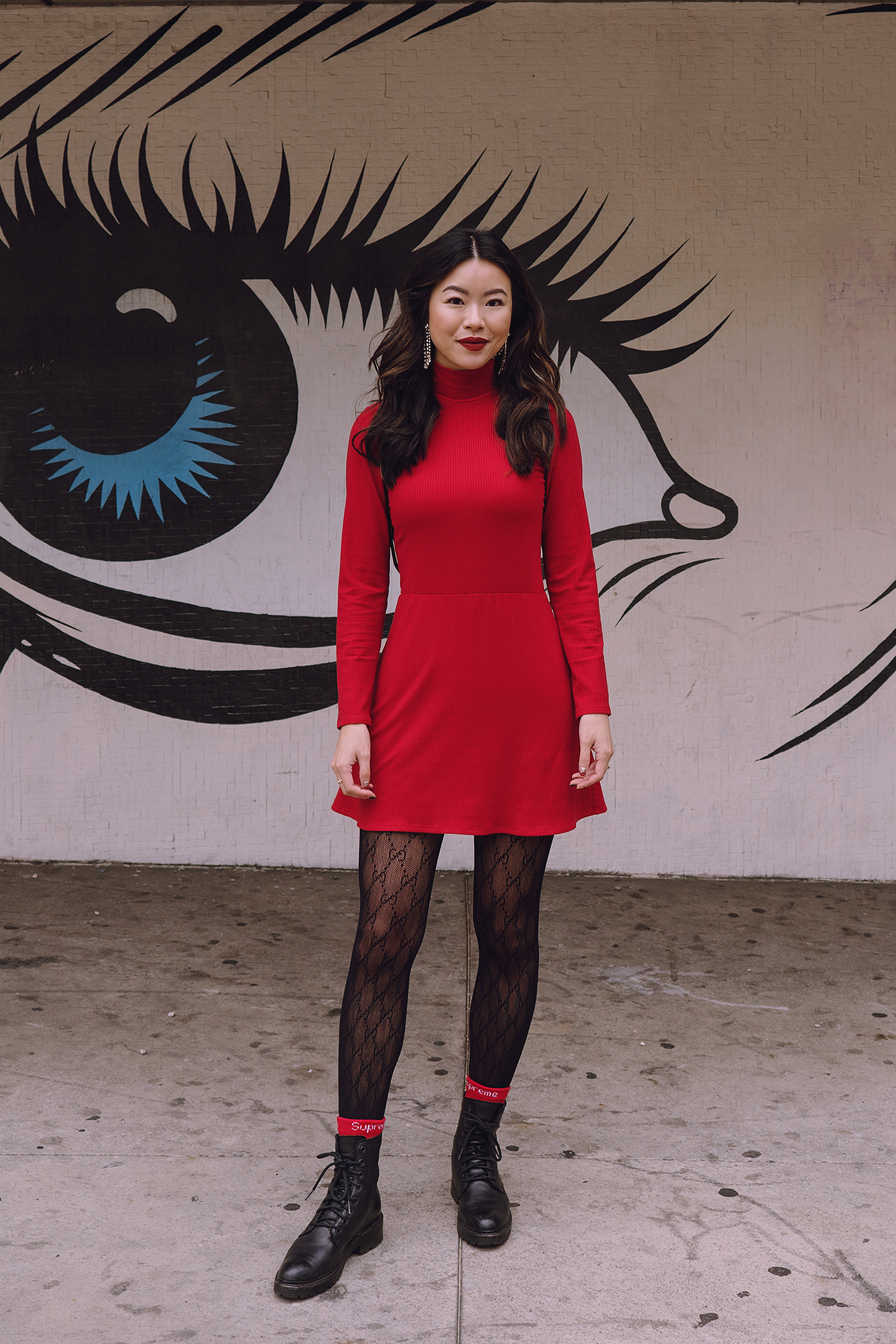 Holiday red dress combat boots Gucci tights