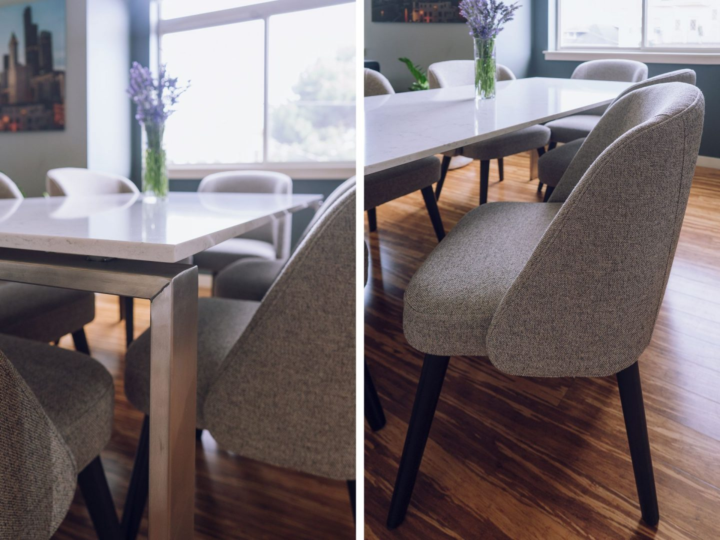 Room and Board Rand Dining Table Cora tweed side chairs