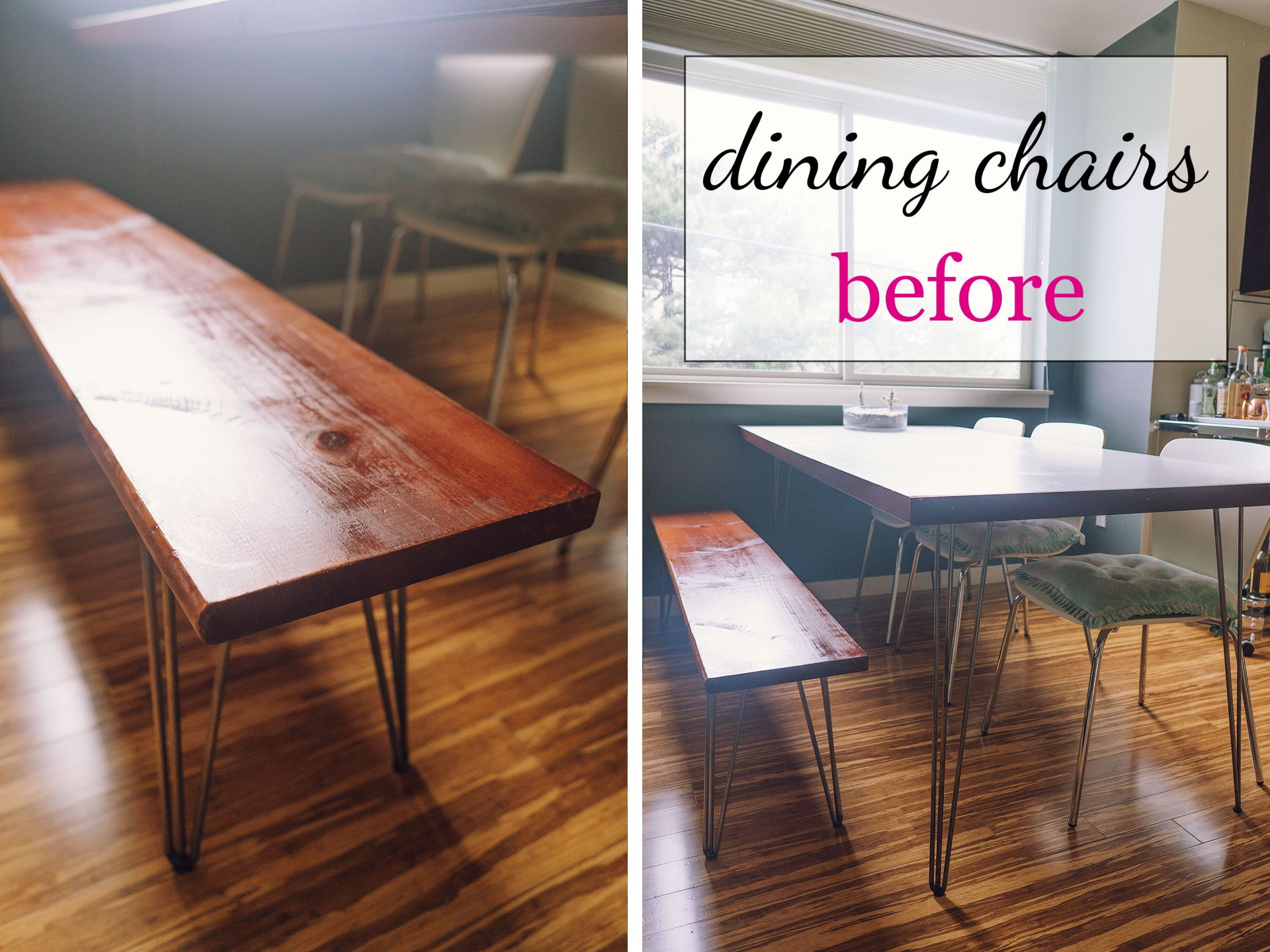 DIY hairpin dining room bench seating