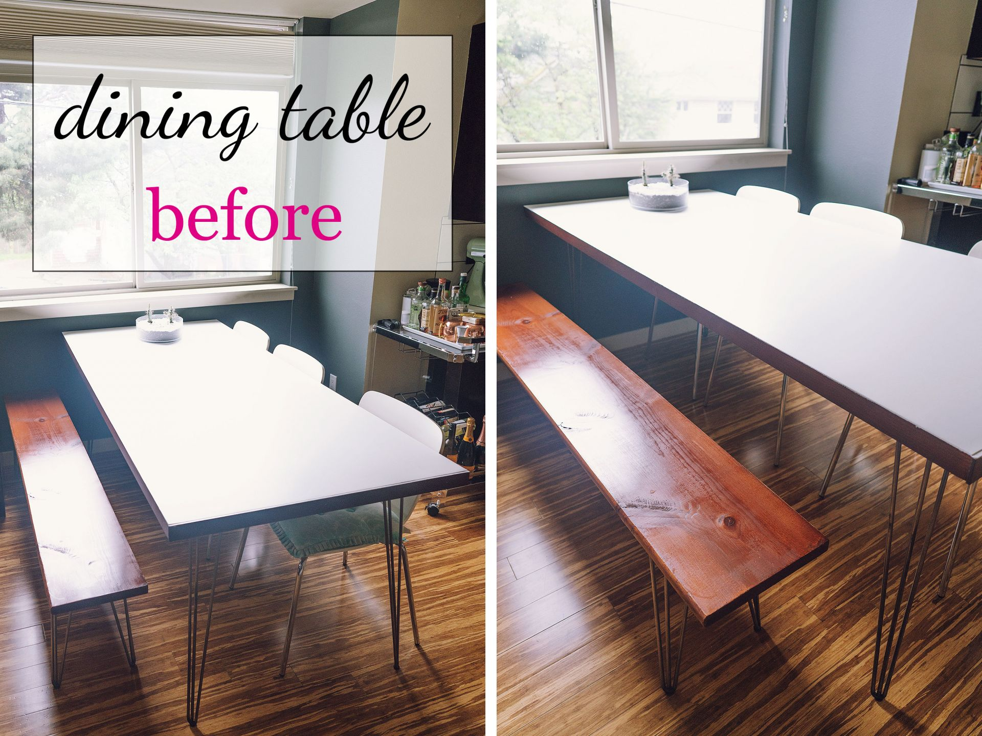 DIY door dining table hairpin legs