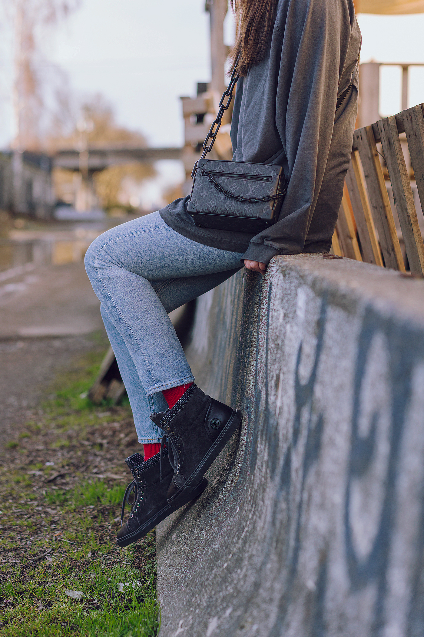 Chanel tweed suede sneakers