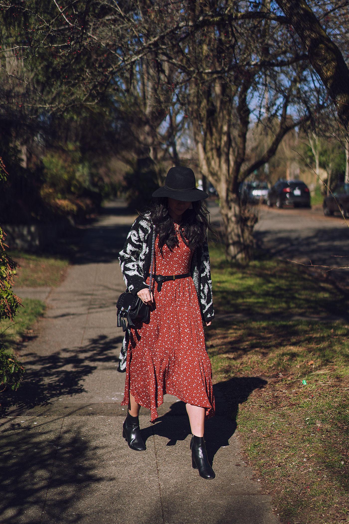 fall autumn midi dress