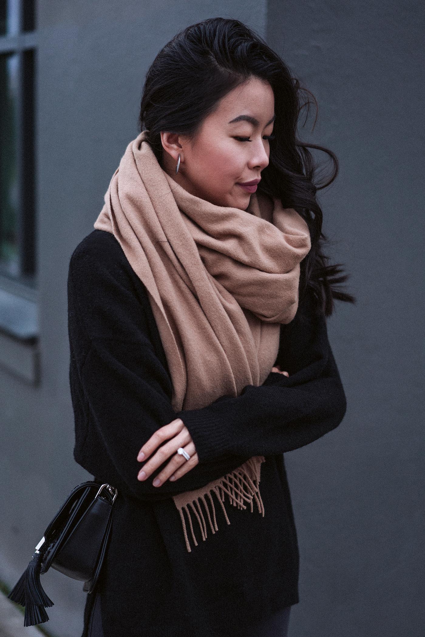 oversized camel wool blanket scarf