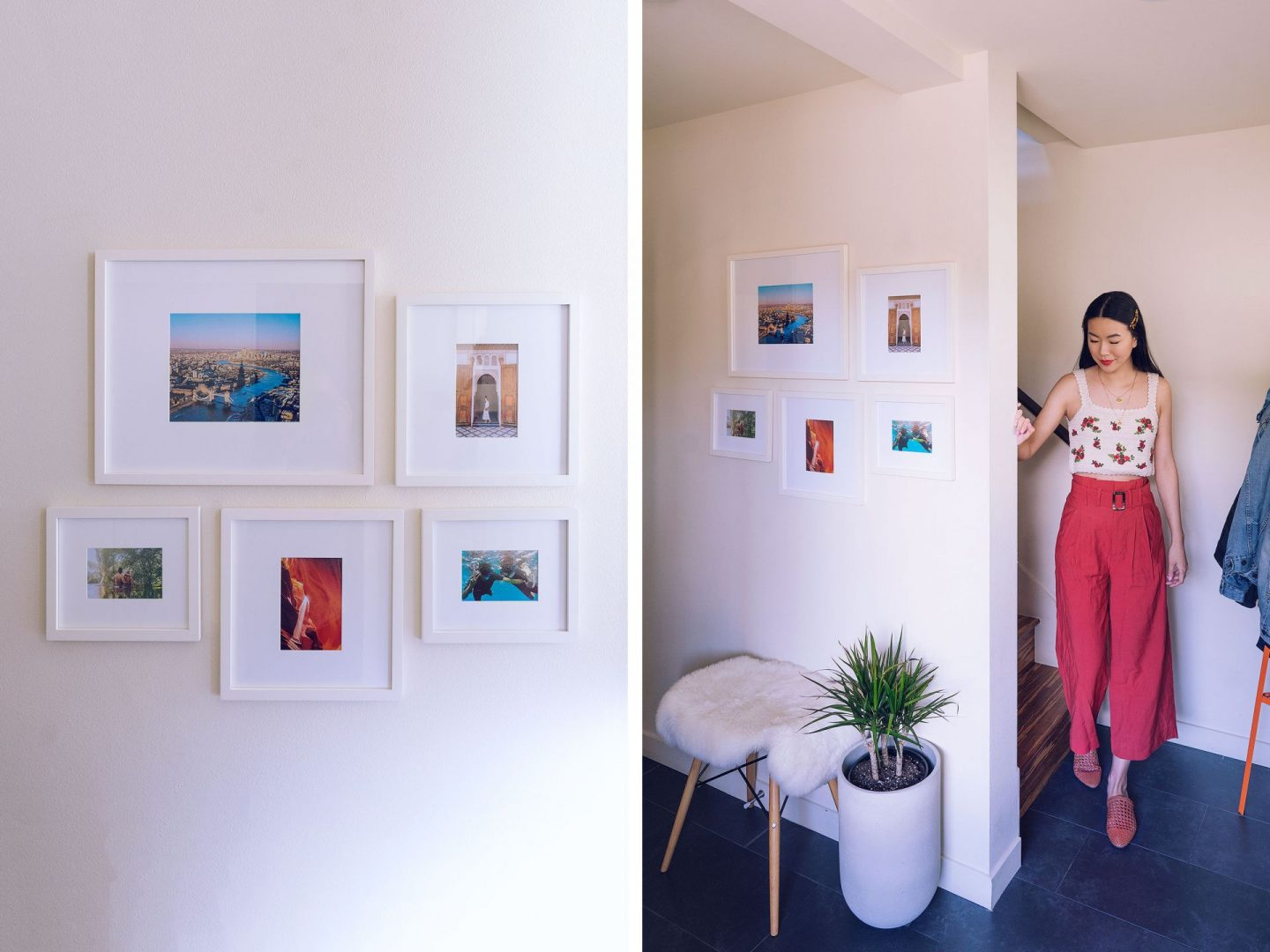 entryway gallery wall white photo frames