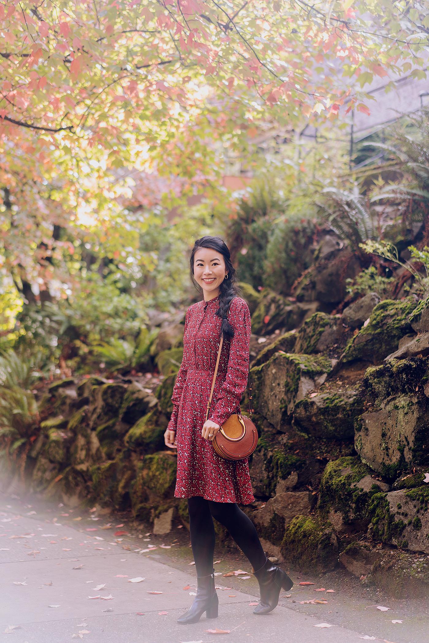 floral red boho dress