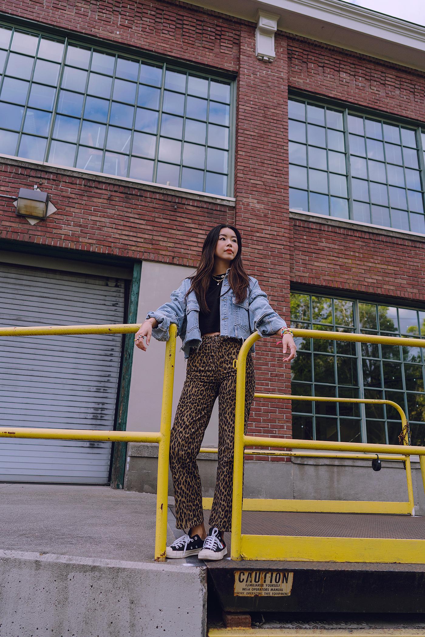 leopard jeans pants