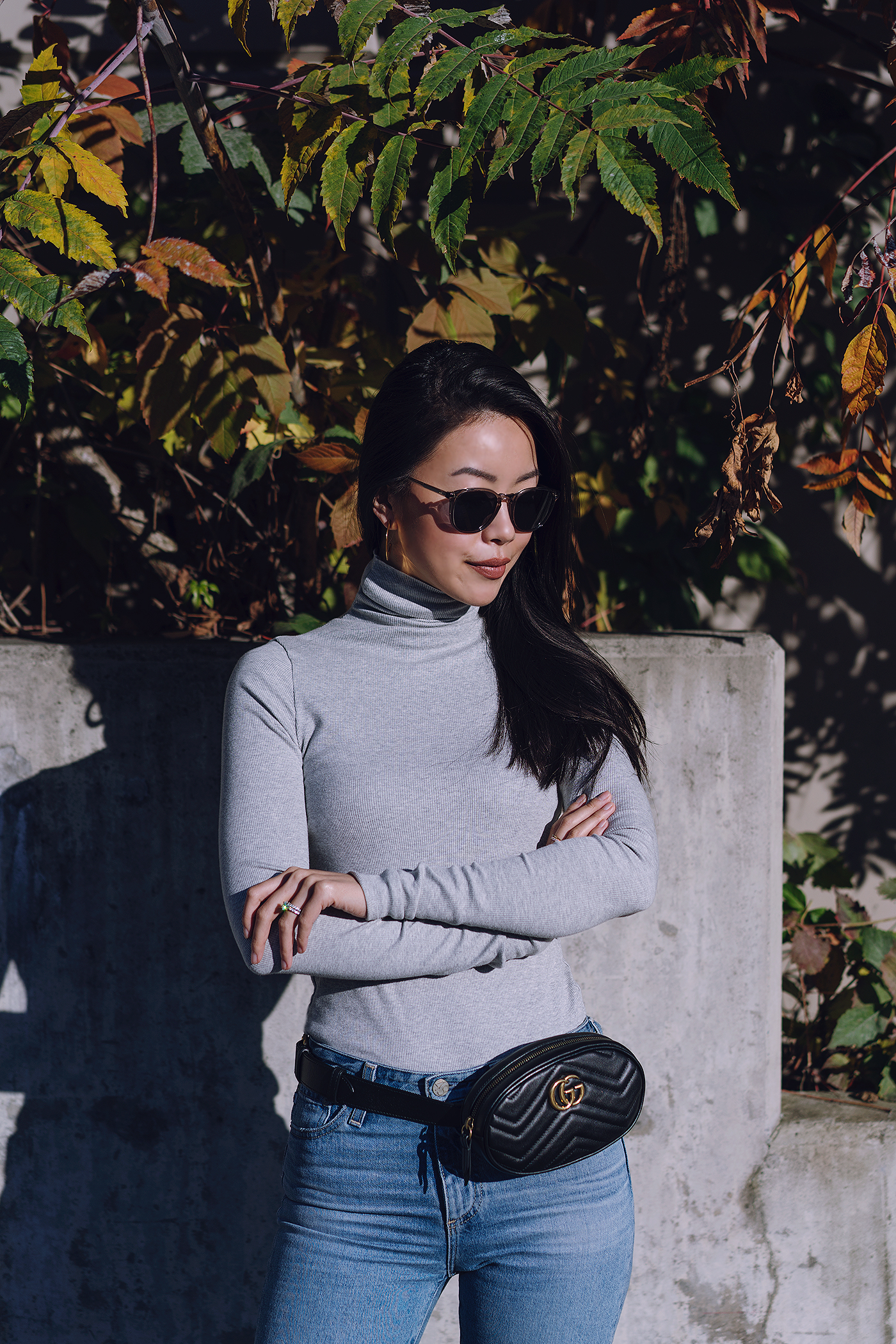 gray ribbed turtleneck