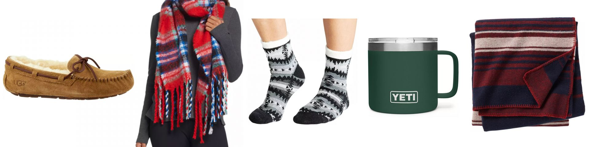 UGG slippers blanket scarf cabin socks YETI mug blanket