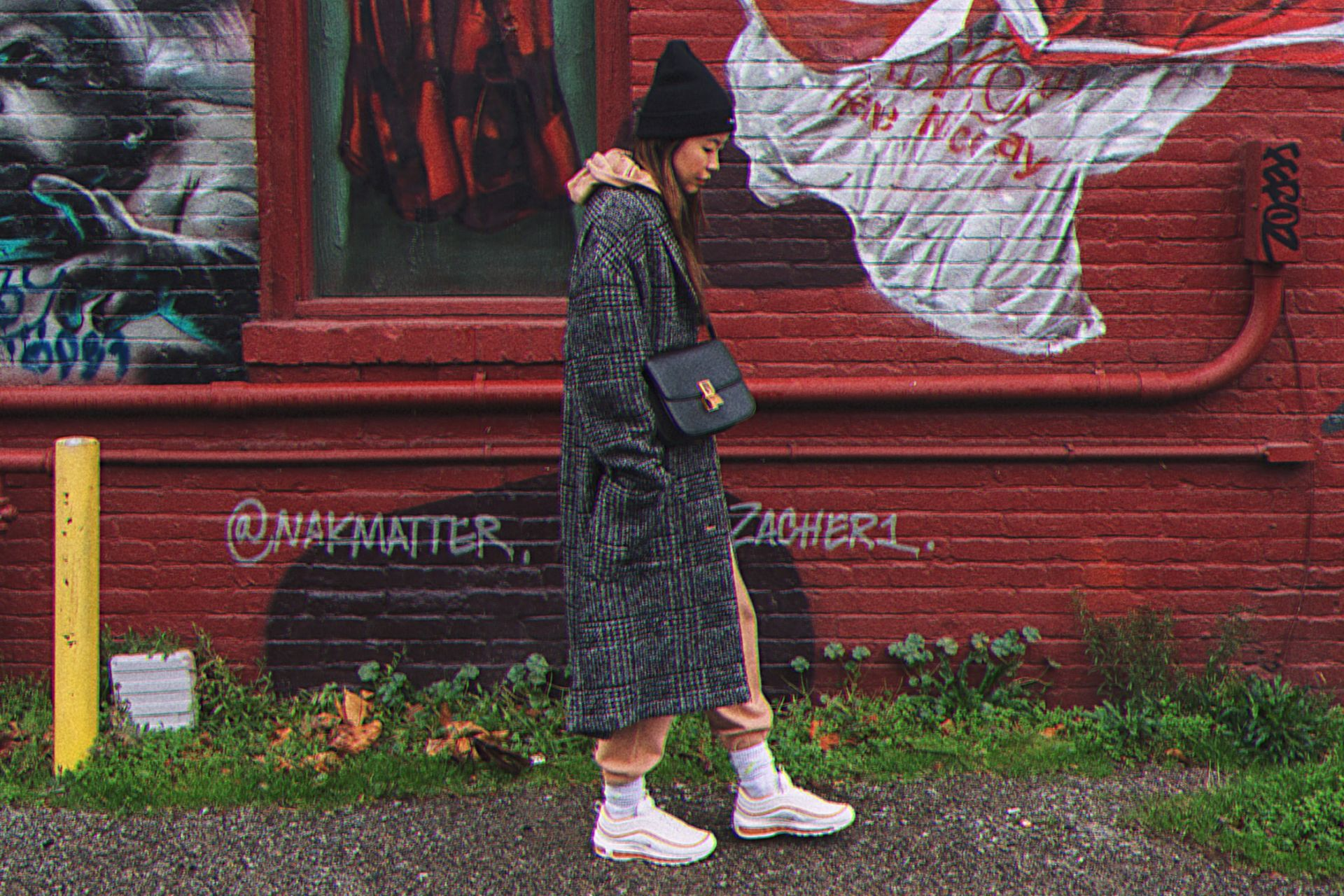 gray plaid oversized coat