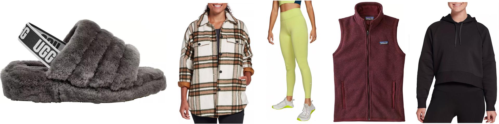 loungewear UGG plaid flannel shacket tights leggings vest sweatshirt
