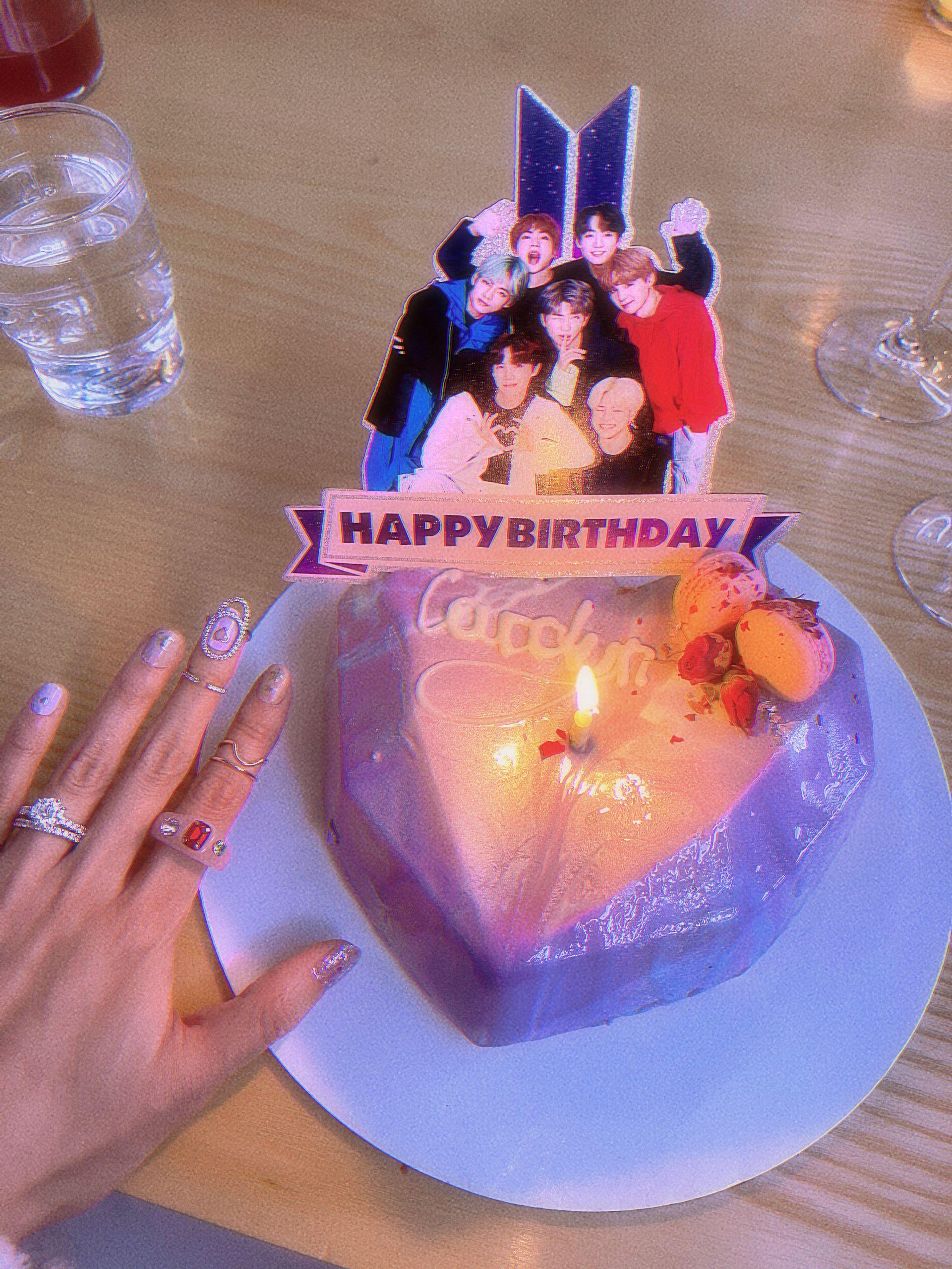 BTS ARMY purple birthday cake