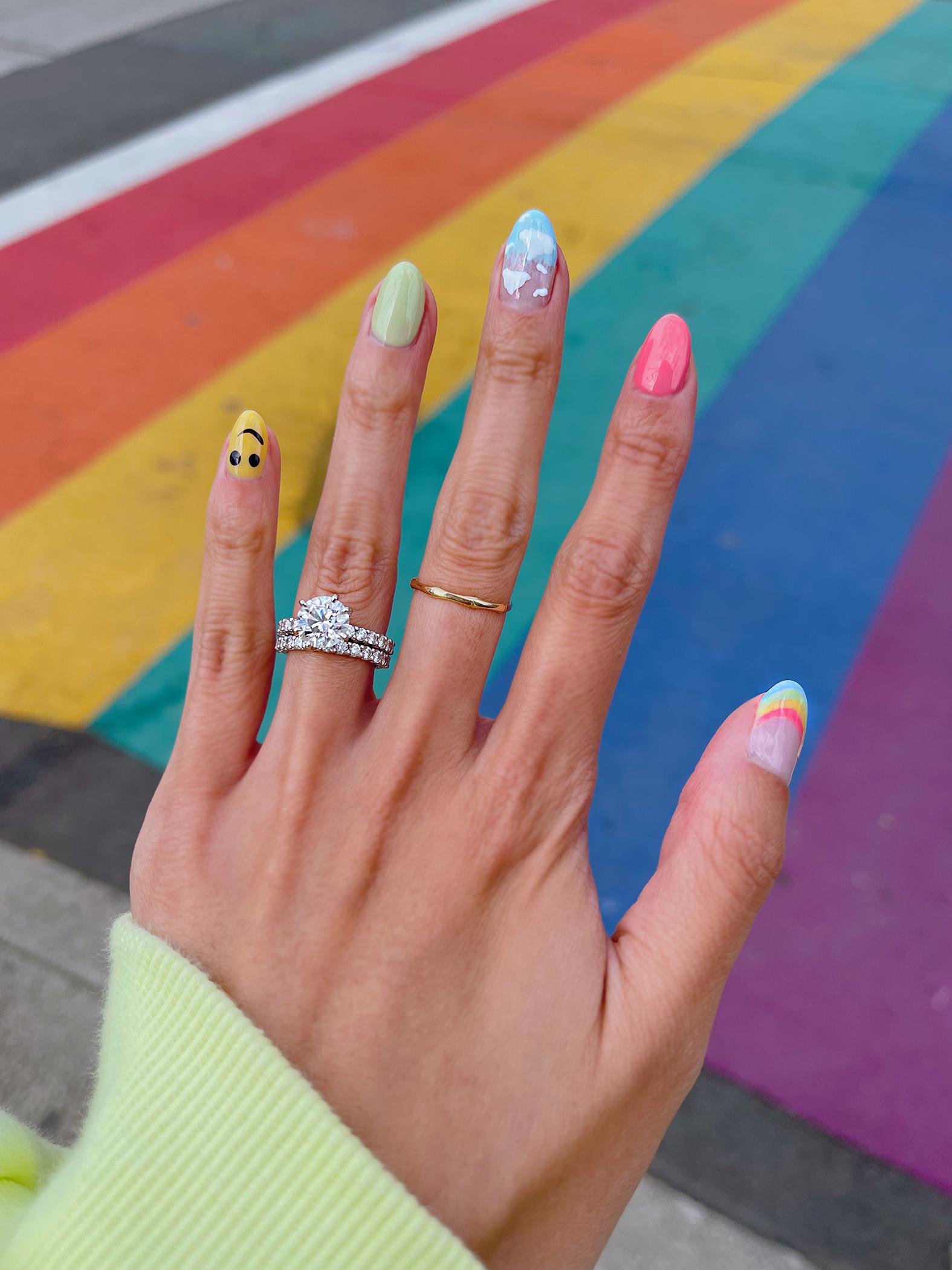 rainbow cloud smiley manicure nail art