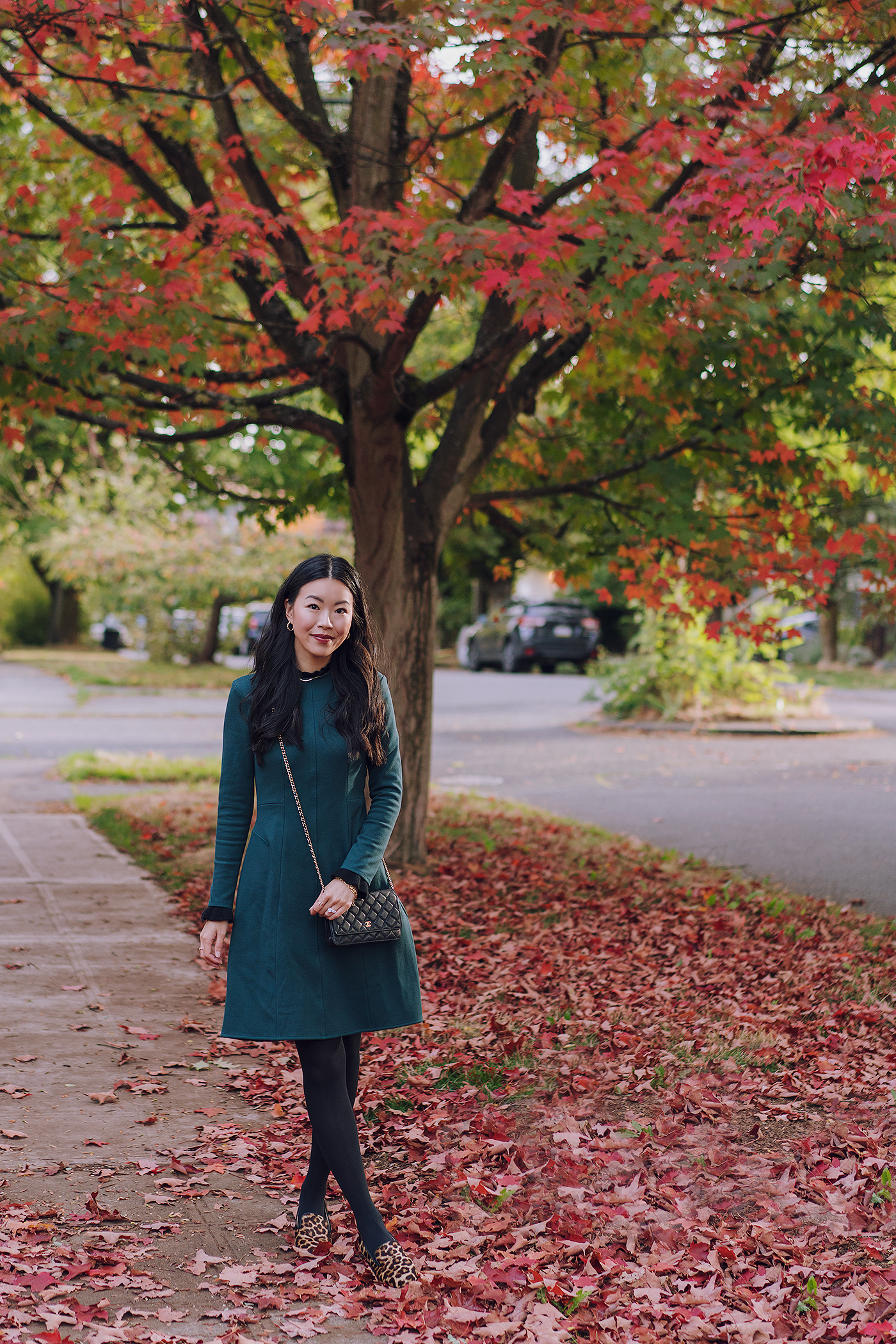green fall dress